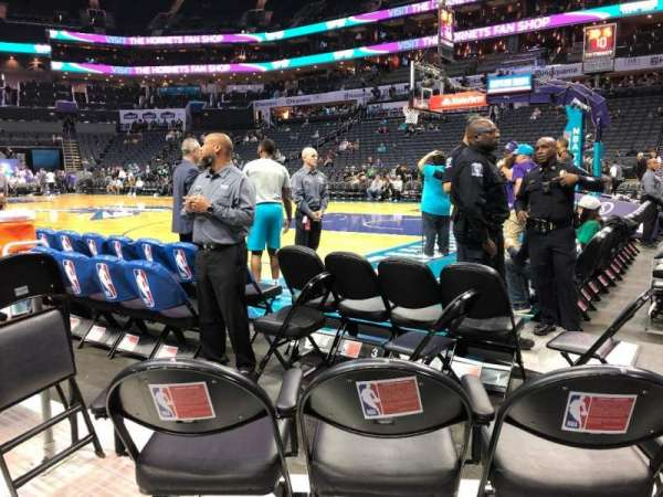 Spectrum Center, section: 103 Front Corner Baseline, row: A, seat: 6
