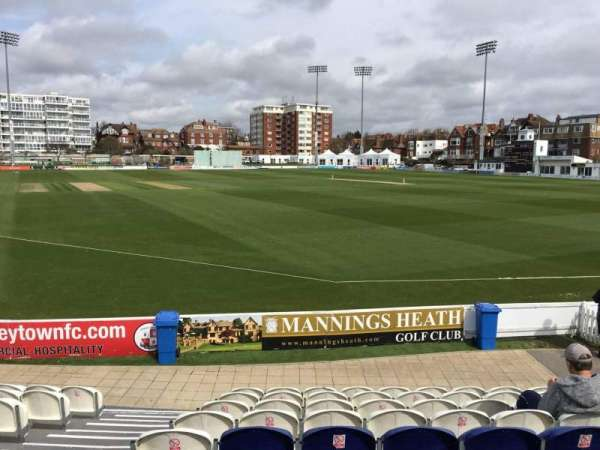 County Cricket Ground (Hove), section: A, row: J, seat: 10