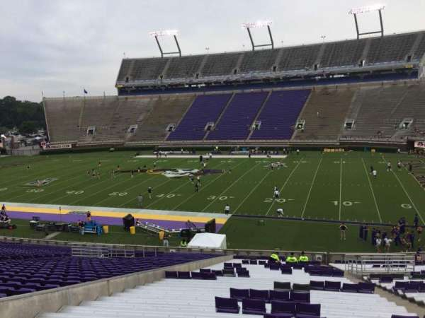 Dowdy-Ficklen Stadium, section: 4A, row: SS, seat: 7