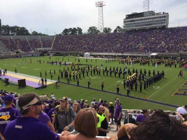 Dowdy-Ficklen Stadium, section: 13, row: T, seat: 10