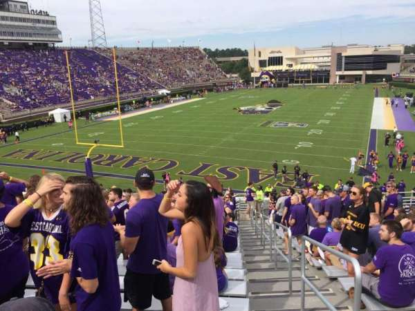 Dowdy-Ficklen Stadium, section: 25, row: T, seat: 1