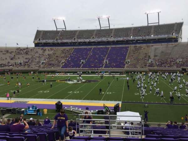 Dowdy-Ficklen Stadium, section: 4B, row: W, seat: 27