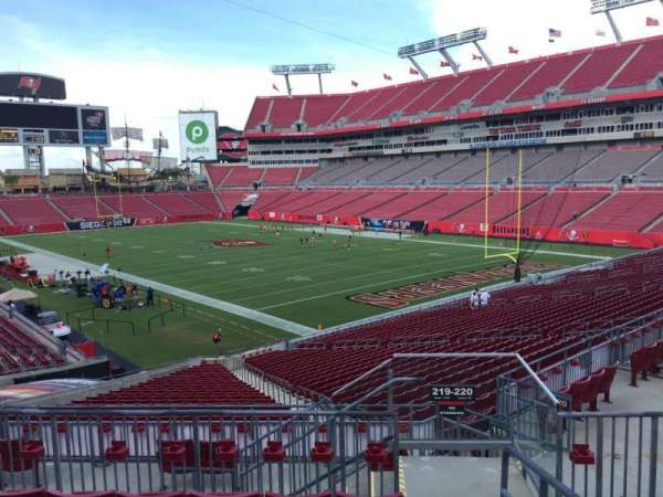 Raymond James Stadium, section: 219, row: F, seat: 1