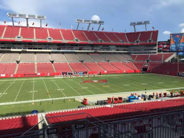 Raymond James Stadium, section: 208, row: E, seat: 18