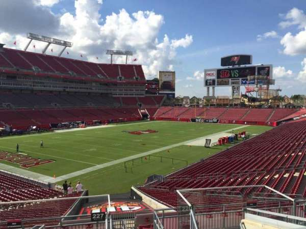 Raymond James Stadium, section: 227, row: F, seat: 1