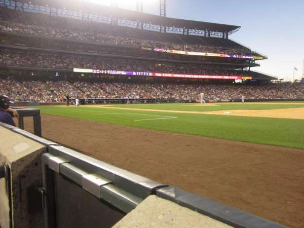Coors Field, section: 120, row: 1, seat: 14