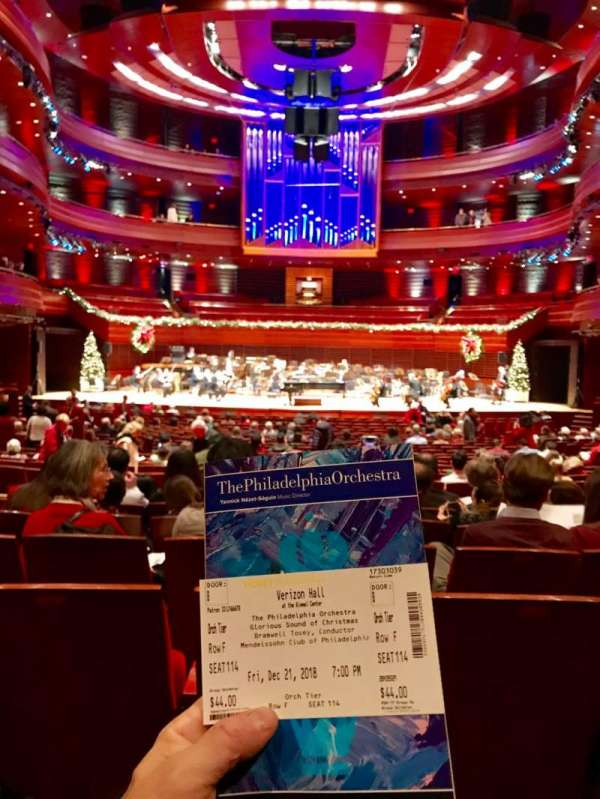 Verizon Hall at the Kimmel Center, section: Orch Tier, row: F, seat: 115