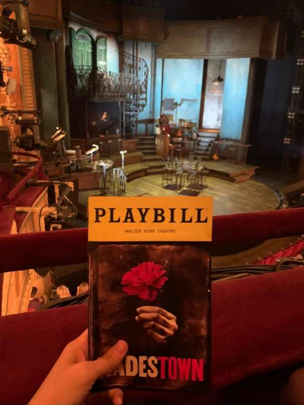 Walter Kerr Theatre, section: Mezzanine L, row: A, seat: 19