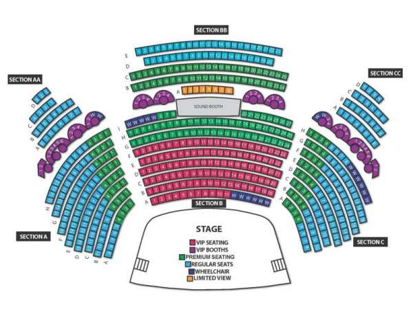 Legends In Concert Theater, section: AA, row: VIP Booth, seat: 3