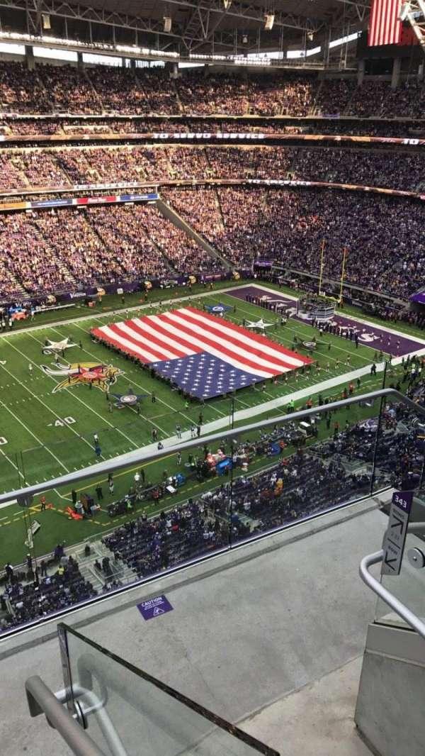 U.S. Bank Stadium, section: 343, row: 3, seat: 1