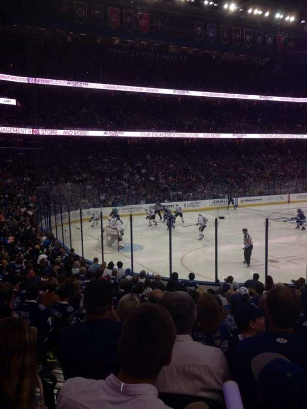 Amalie Arena, section: 104, row: R, seat: 22