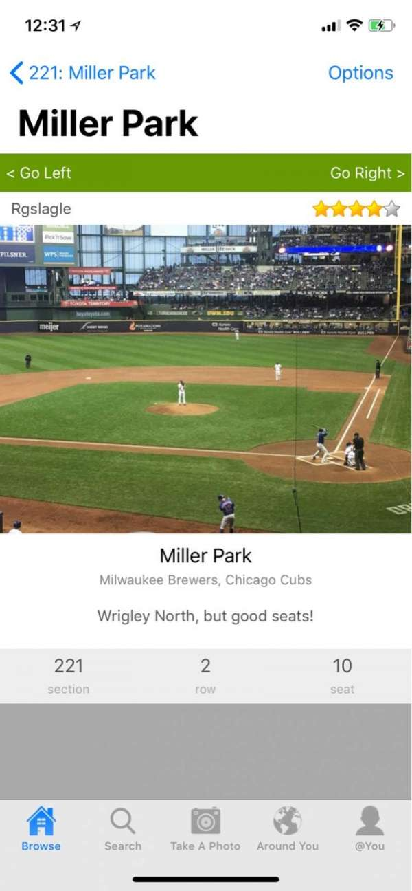 Miller Park, section: 221, row: 3, seat: 1