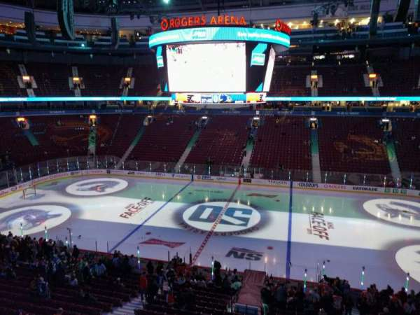 Rogers Arena, section: 322, row: 1, seat: 107