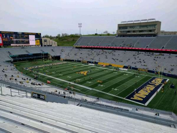 Mountaineer Field, section: 210, row: 20, seat: 112