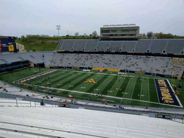 Mountaineer Field, section: 208, row: 34, seat: 114