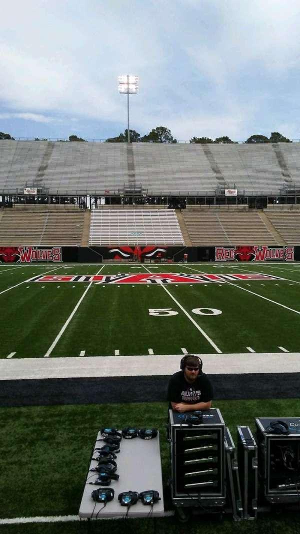 Centennial Bank Stadium, section: E, row: 1, seat: 19