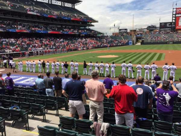 Coors Field, section: 122, row: 15, seat: 7