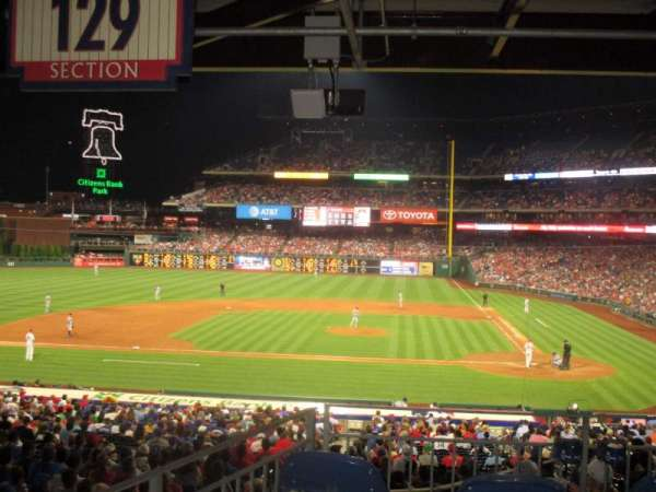Citizens Bank Park, section: 129, row: 40, seat: 1