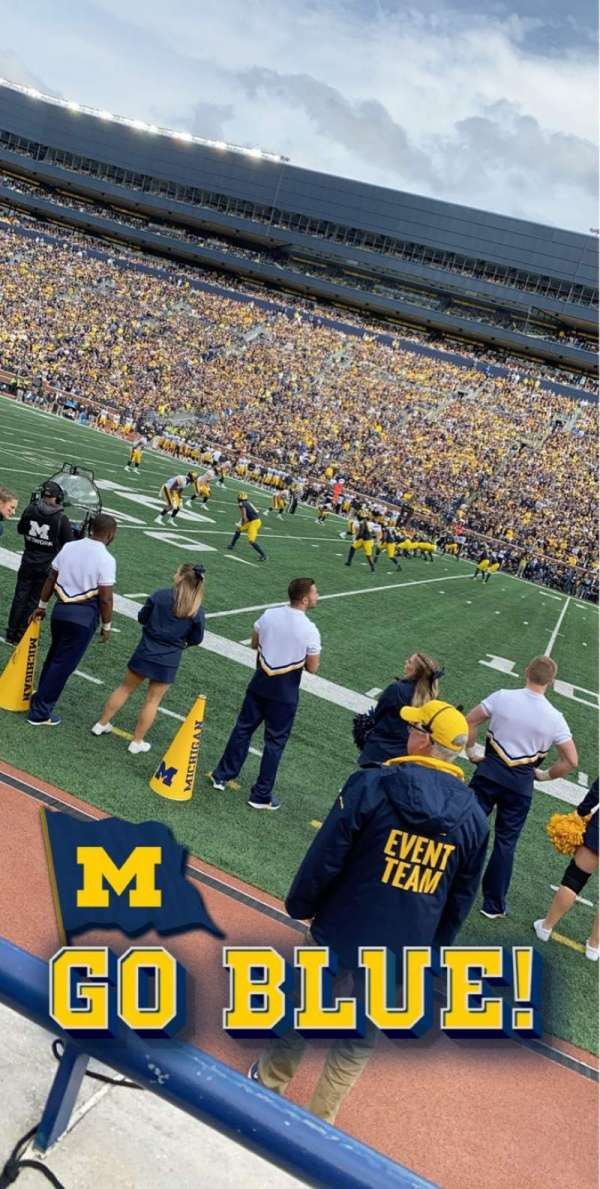Michigan Stadium, section: 20, row: A, seat: 10