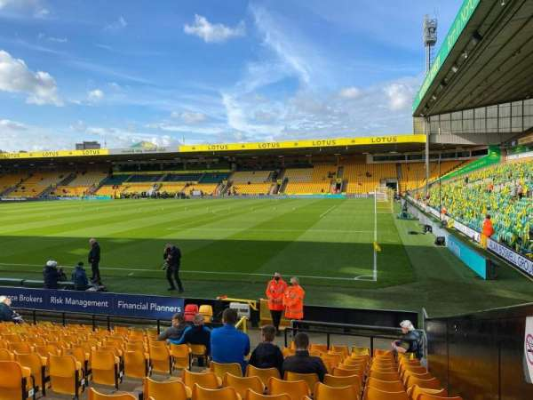 Carrow Road, section: F, row: M, seat: 10