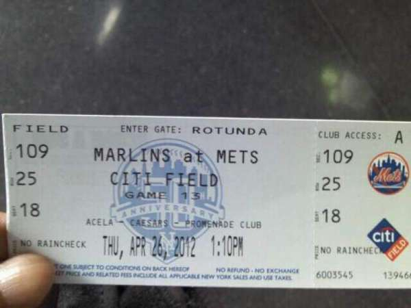 Citi Field, section: 109, row: 25, seat: 18
