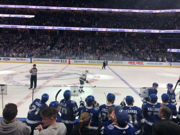 Amalie Arena, section: 101, row: F, seat: 1