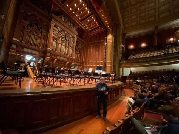 Jordan Hall at the New England Conservatory , section: Orchestra Left, row: N, seat: 7