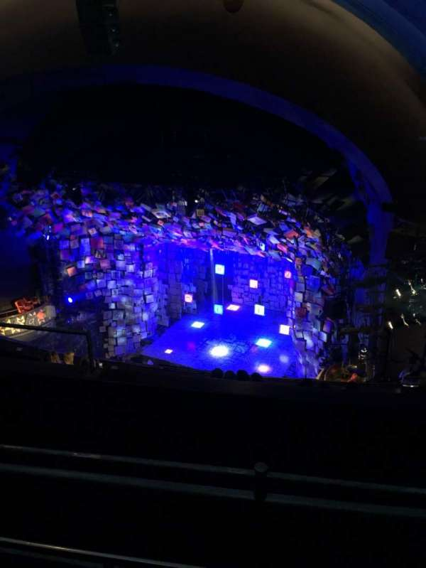 Cambridge Theatre, section: Upper circle, row: H, seat: 4