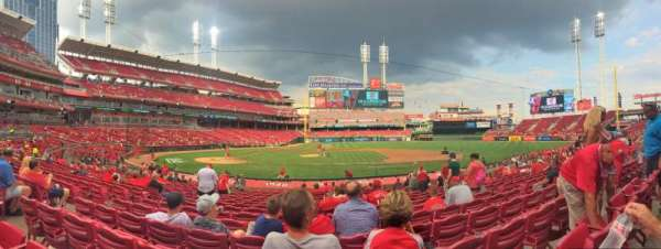 Great American Ball Park, section: Infield Box 129, row: V, seat: 7
