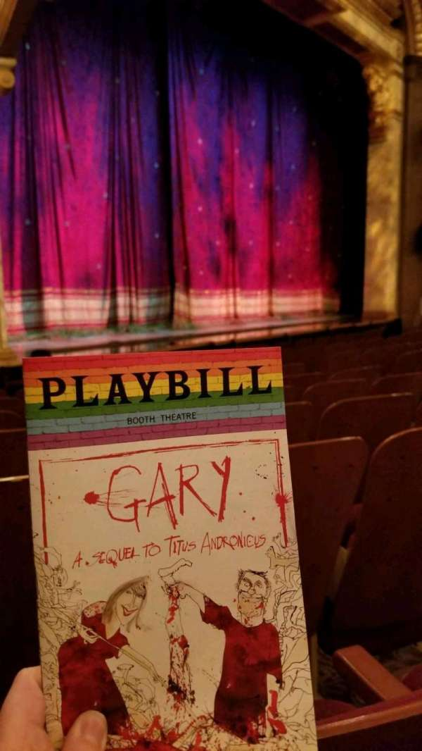 Booth Theatre, section: Orchestra L, row: G, seat: 15
