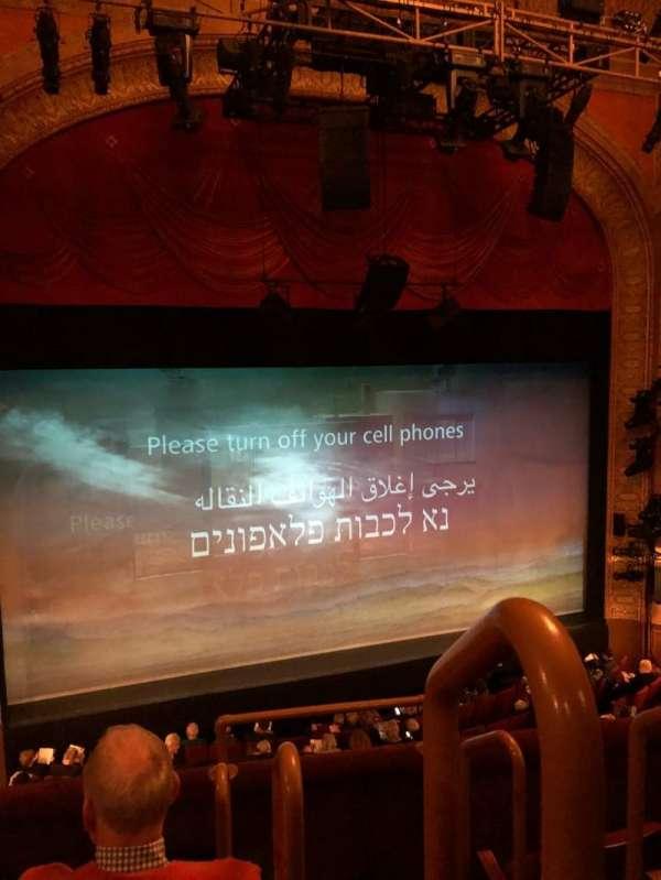 Ethel Barrymore Theatre, section: Mezzanine, row: D, seat: 1