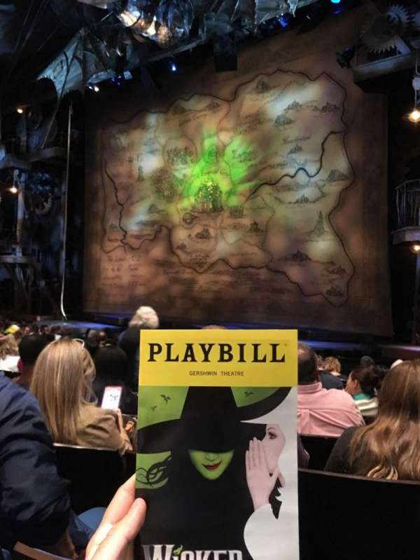Gershwin Theatre, section: Orchestra R, row: G, seat: 12
