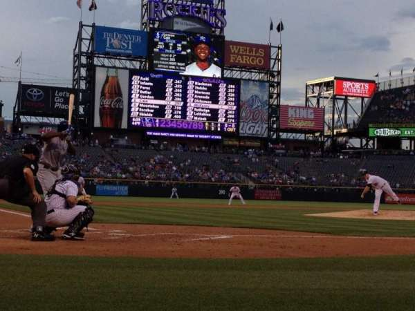 Coors Field, section: Coors Clubhouse B, row: 1, seat: 4