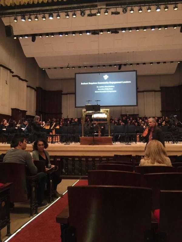 Orchestra Hall, section: MF, row: H, seat: 1