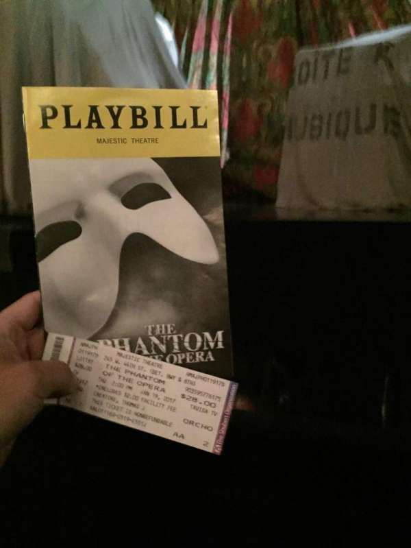 Majestic Theatre, section: Orchestra R, row: AA, seat: 2