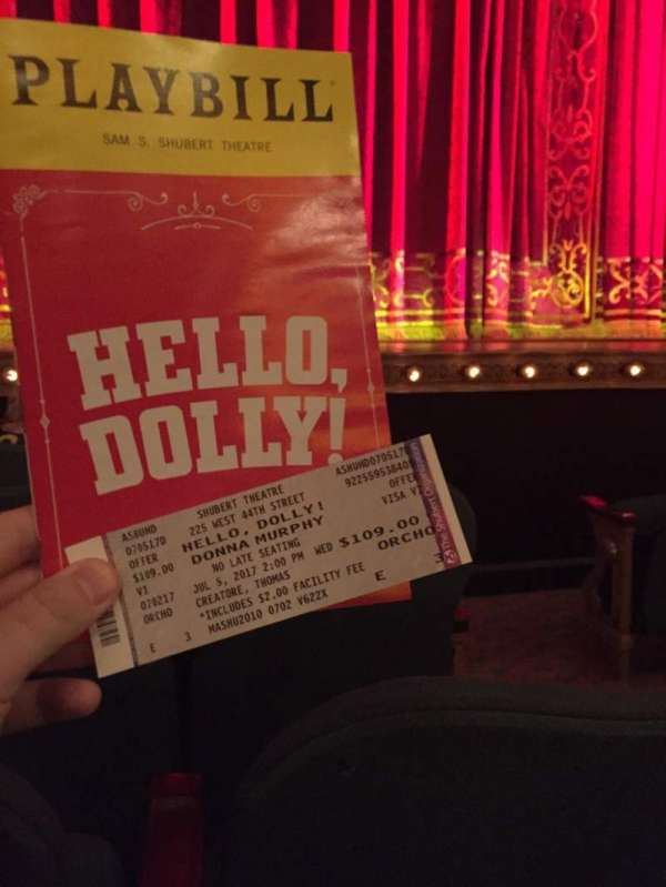Shubert Theatre, section: Orchestra L, row: E, seat: 3