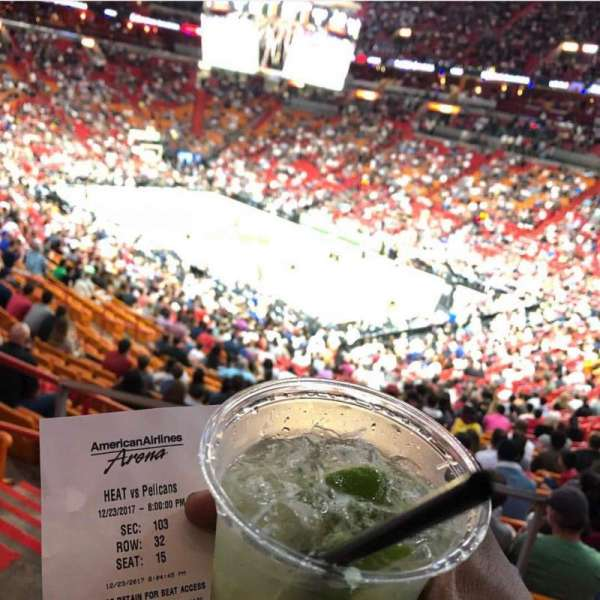 American Airlines Arena, section: 103, row: 32, seat: 15