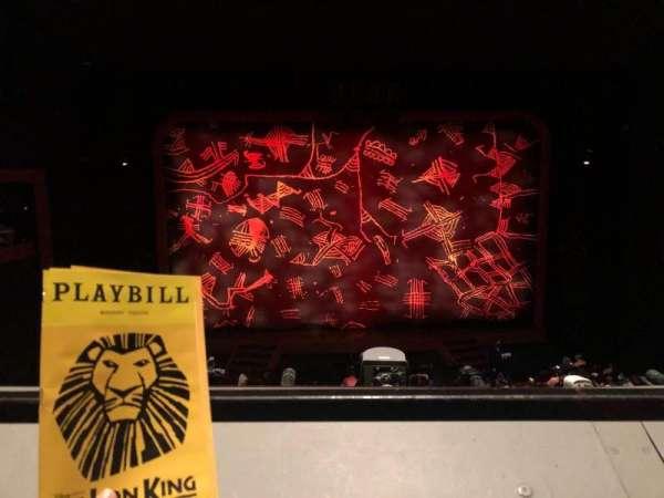 Minskoff Theatre, section: Mezzanine, row: A, seat: 120