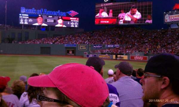 Fenway Park, section: Right Field Box 7, row: H, seat: 16