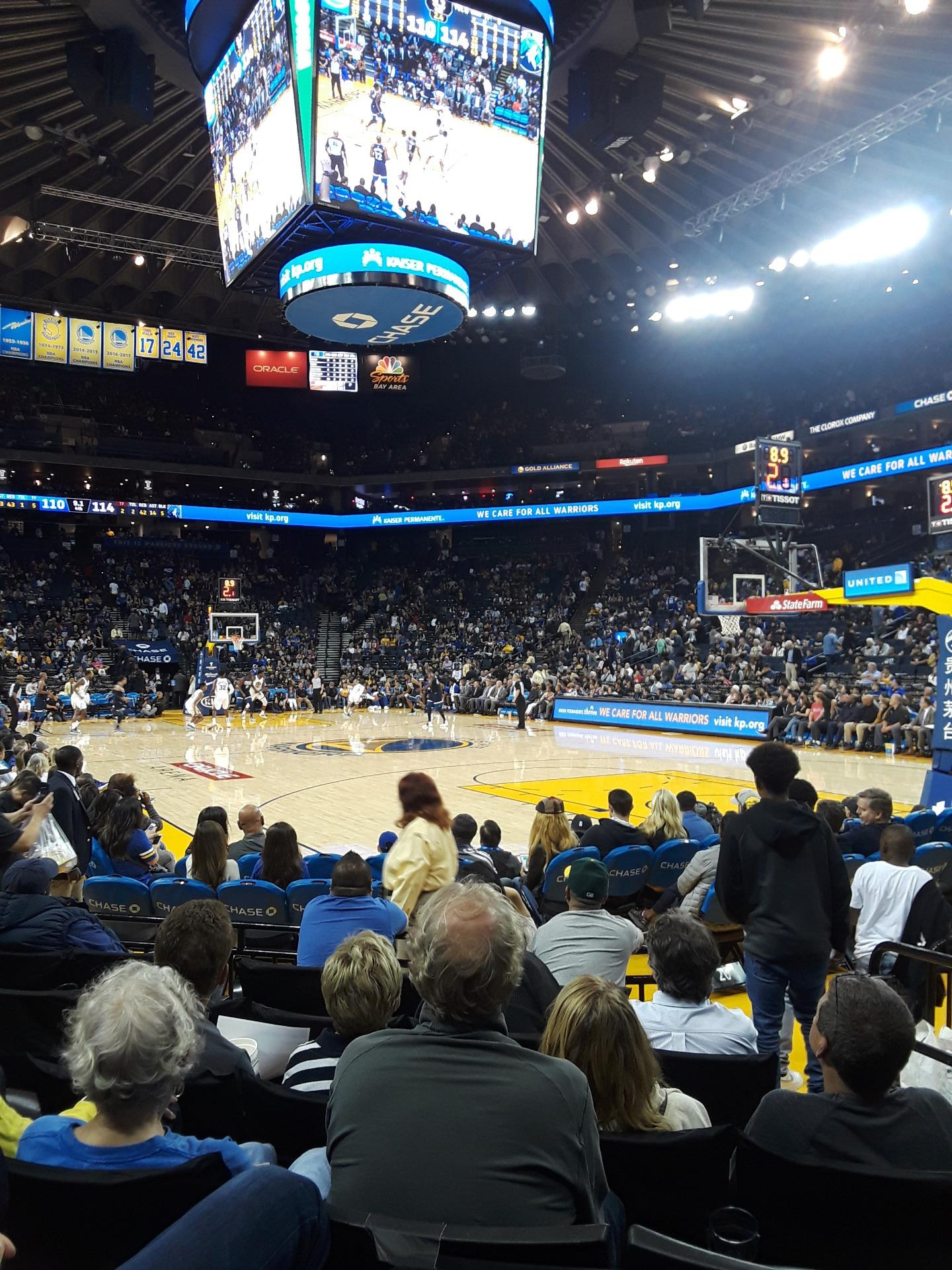 Oakland Arena Section 110 Row 1 Seat 3 Golden State Warriors Vs