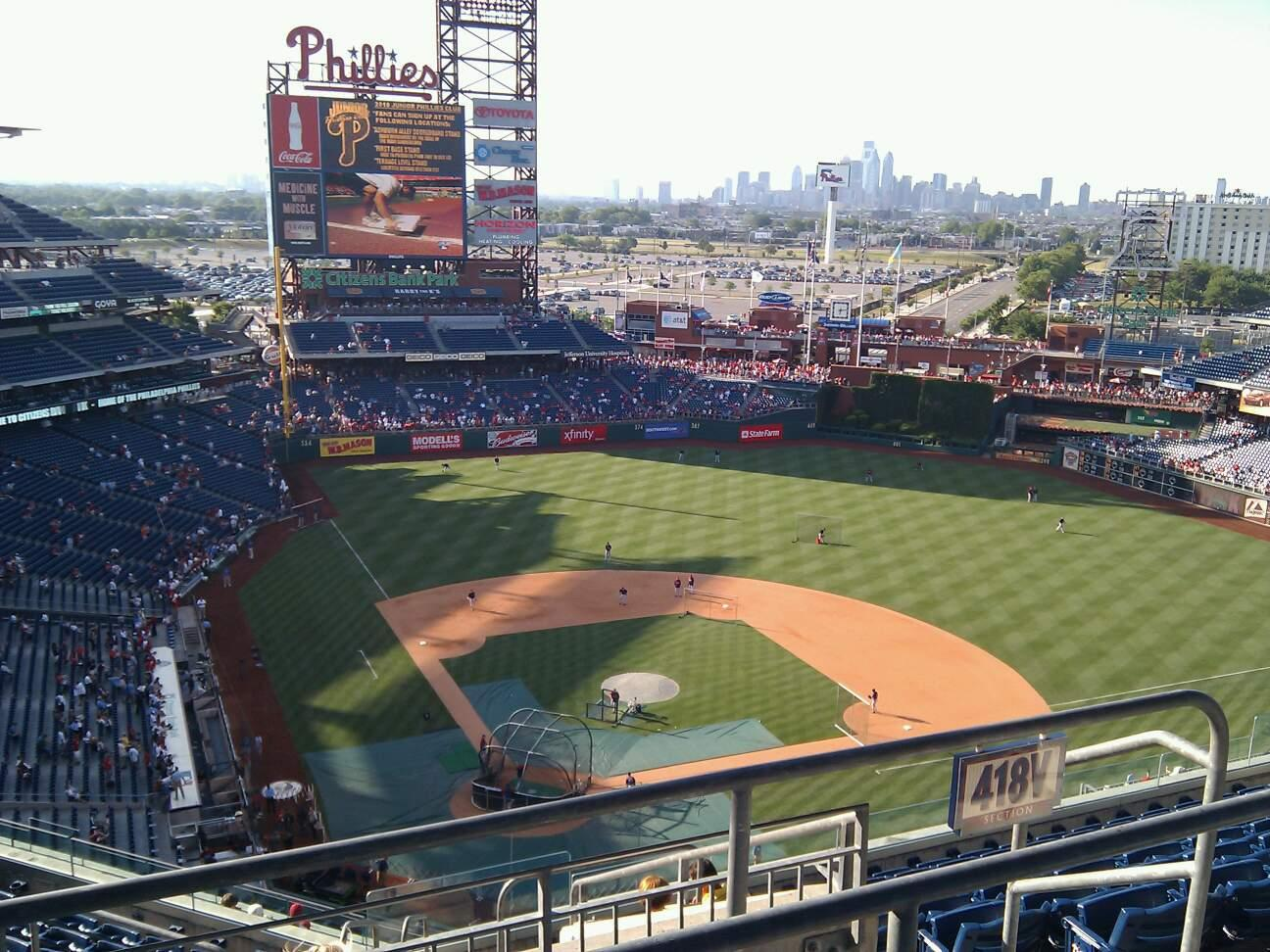 Citizens Bank Park Section 418 Row 12 Seat 26