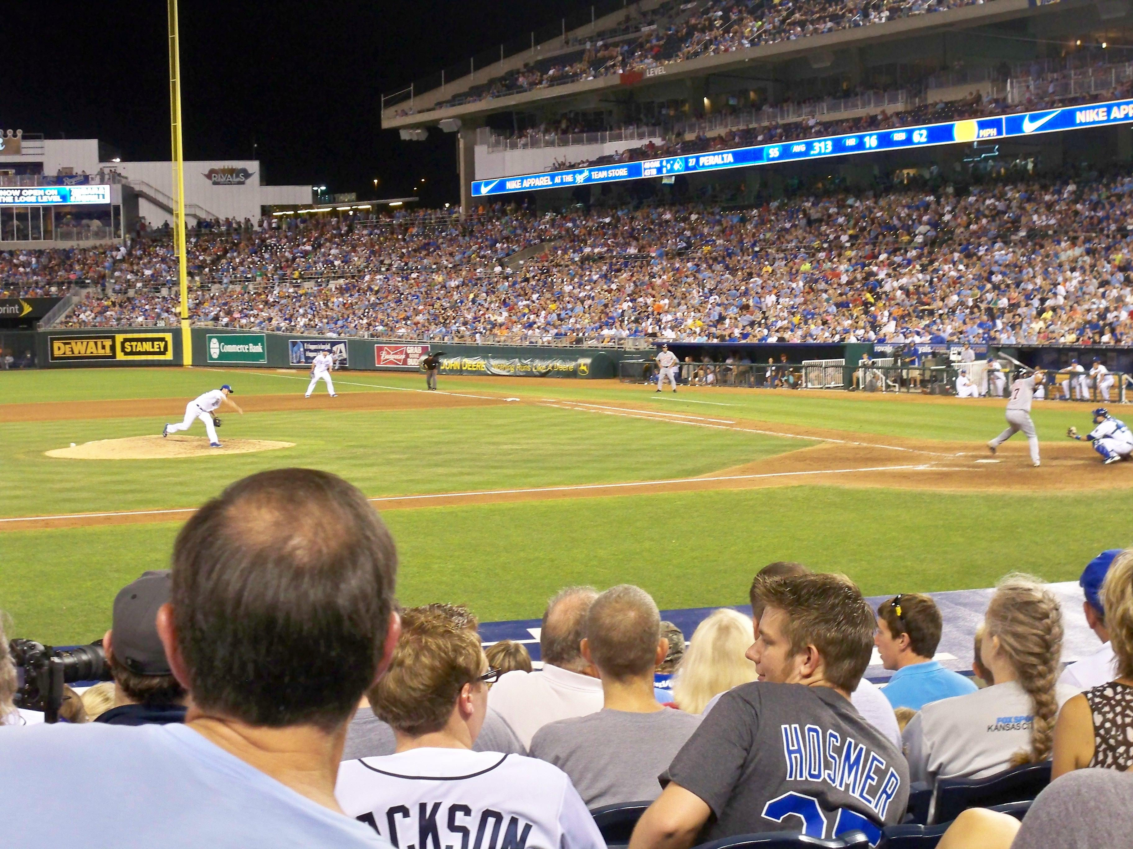 Kauffman Stadium section 121 row J seat 3 Kansas City Royals vs