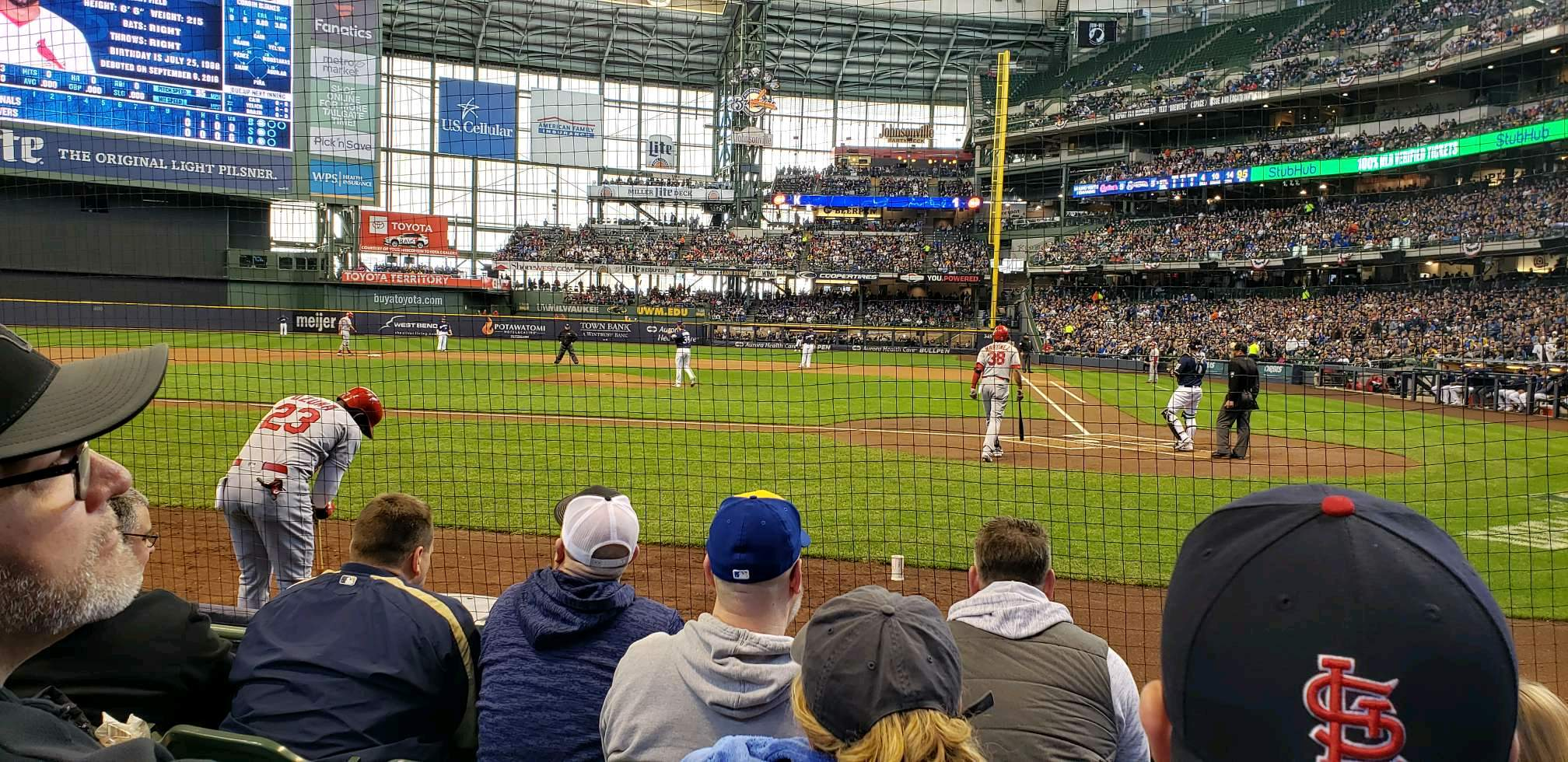 Miller Park Section 120 Row 4 Seat 5