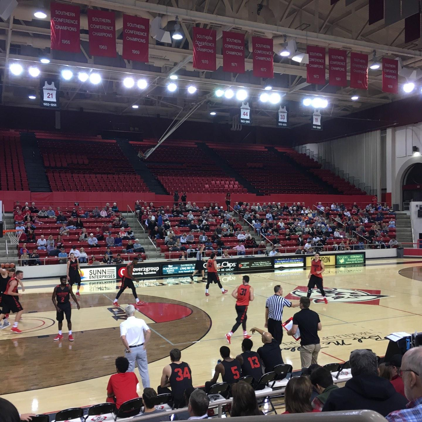 John M. Belk Arena Section 14 Row G Seat 1