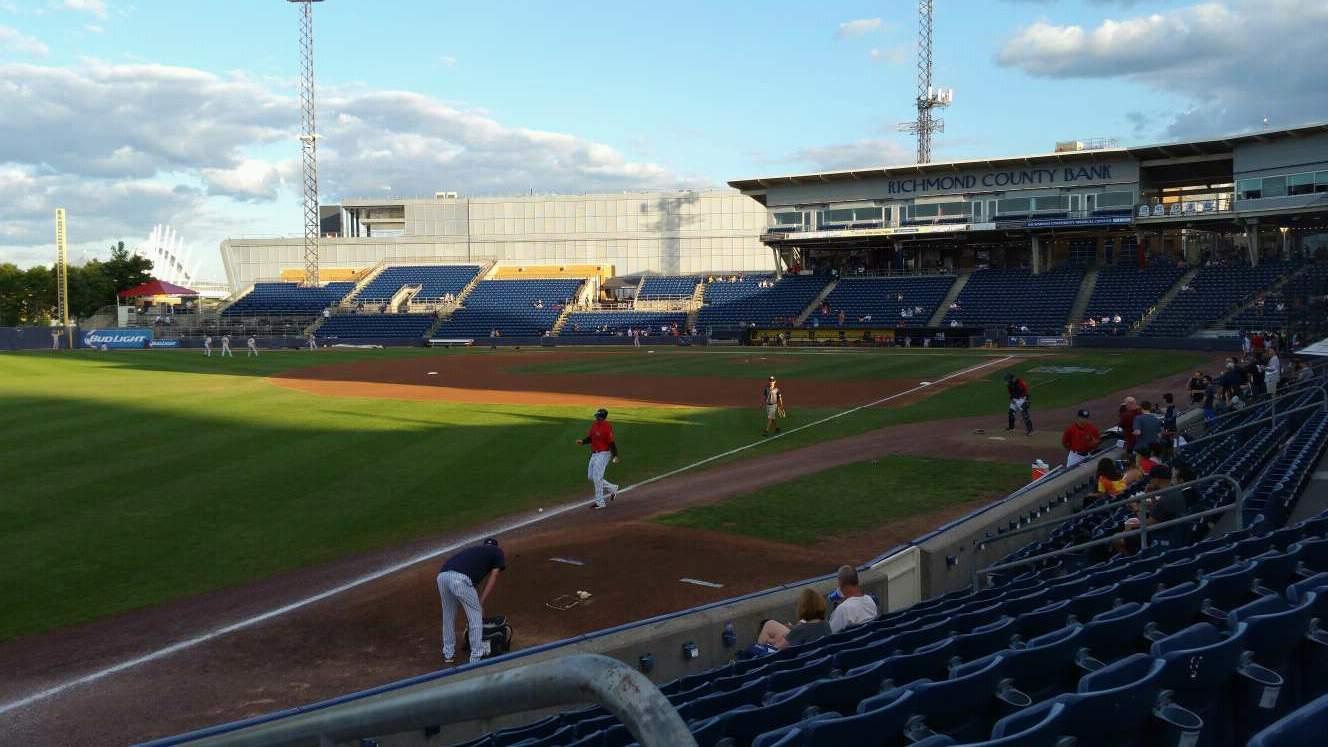 Richmond County Bank Ballpark Section 1 Row J Seat 1