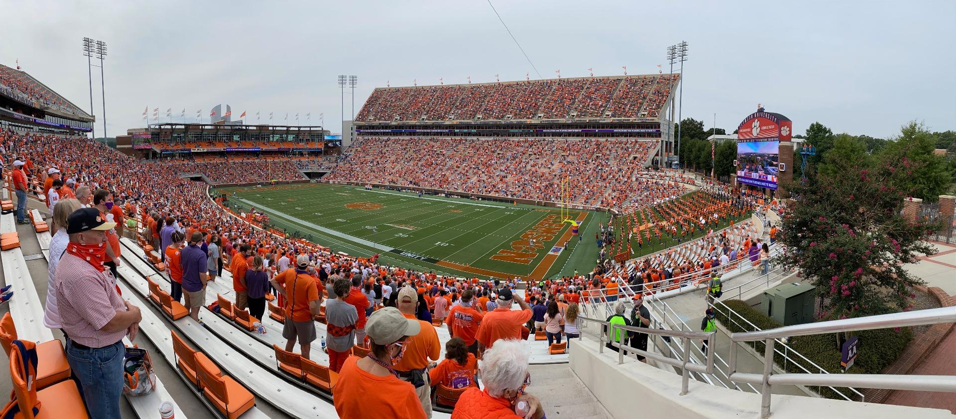 Memorial Stadium, Clemson Section UA Row J Seat 1