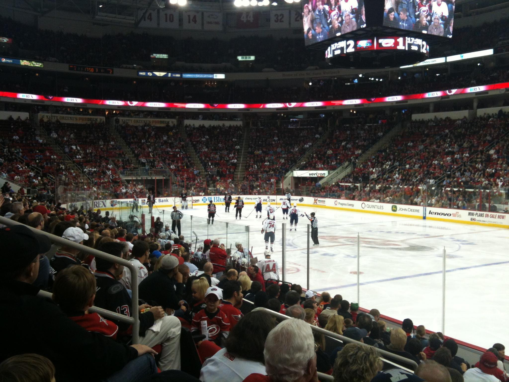 PNC Arena section 101 row L seat 3 - Carolina Hurricanes vs Washington Capitals
