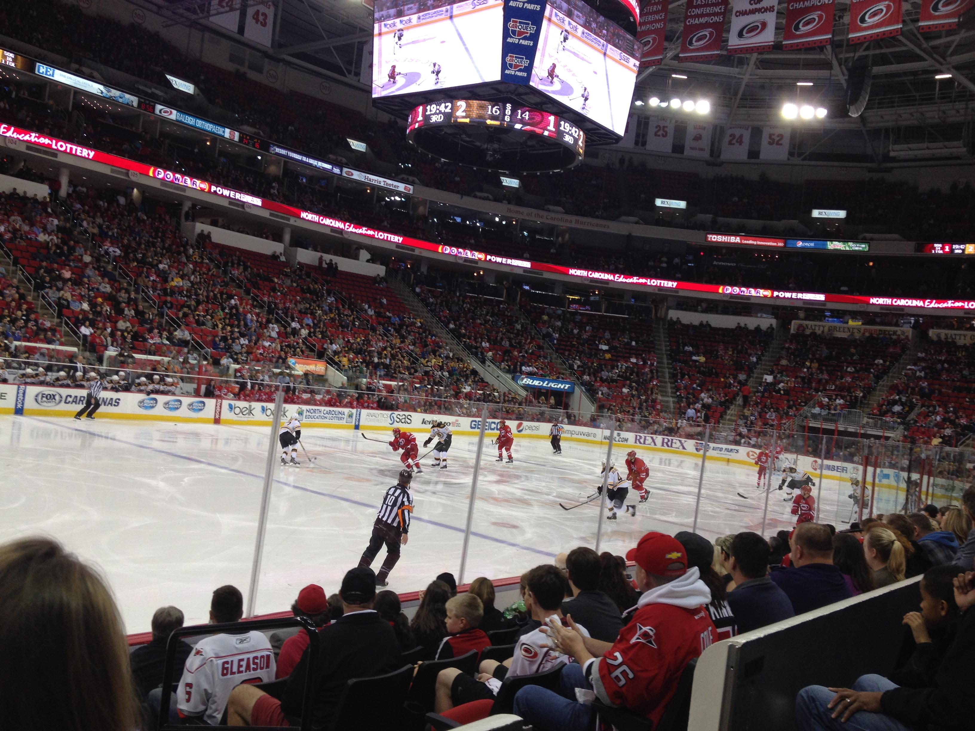 Carolina Hurricanes Seat View for PNC Arena Section 122, Row G, Seat 3