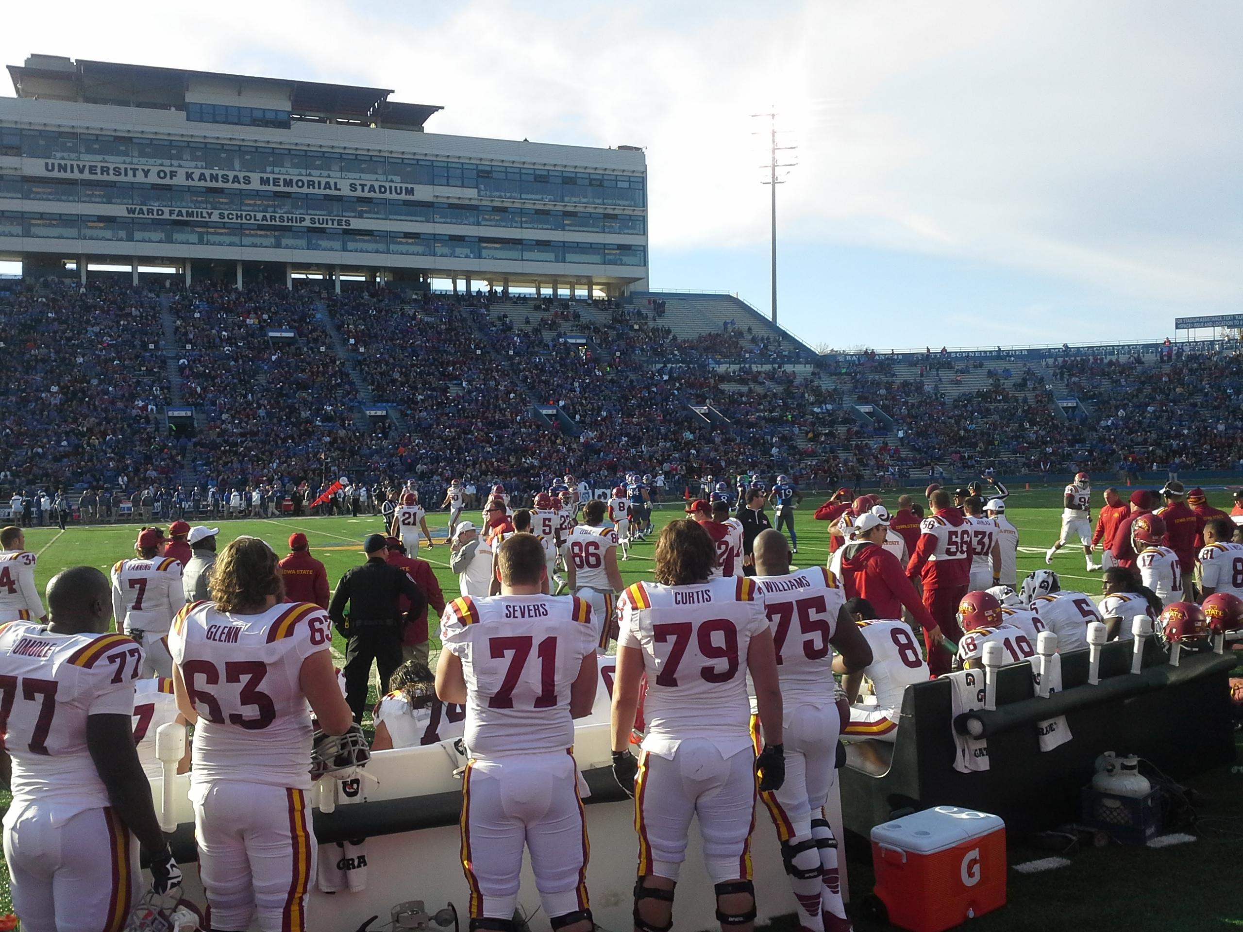 University of Kansas Memorial Stadium Section 22 Row 1