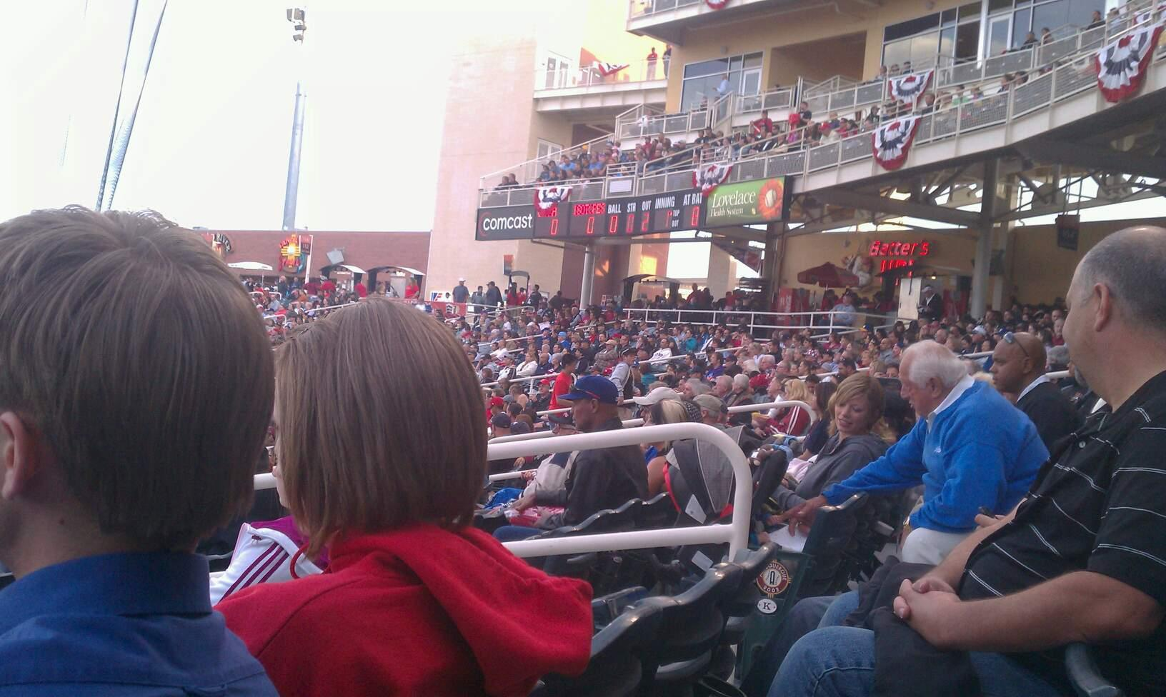 Isotopes Park Section 103 Row L Seat 8
